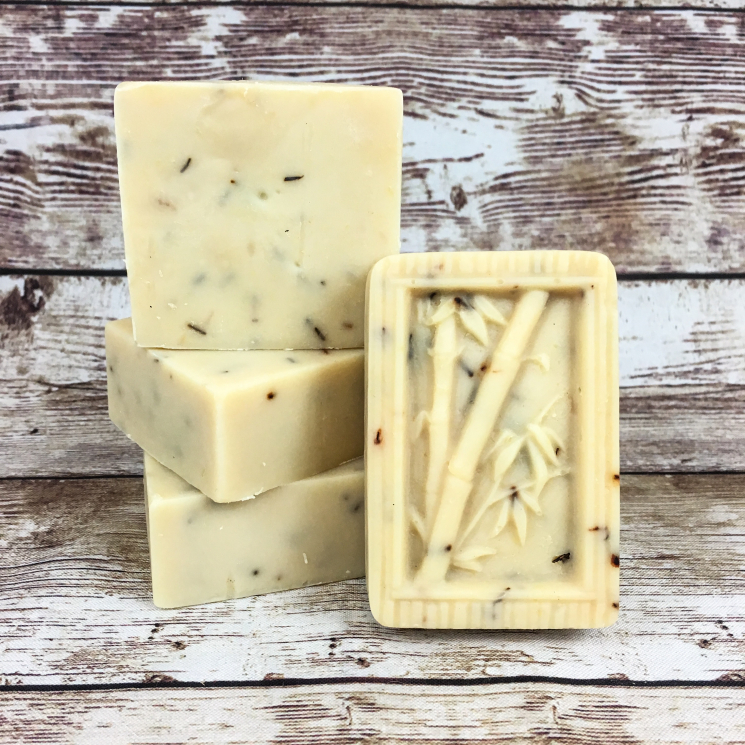 Goat milk and lard soap, molded bar with bamboo and plain squares