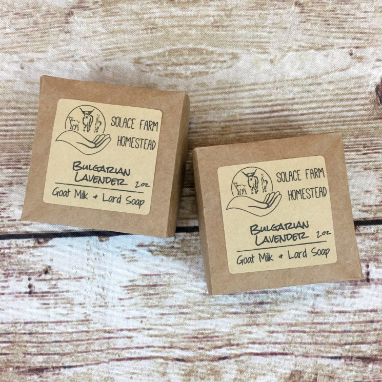 Lavender Goat Milk Lard Soap, in Origami Brown Paper Box