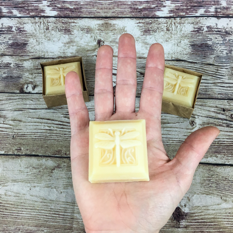 Lavender Goat Milk Soap, 2 oz Bar in Woman's Hand for Scale
