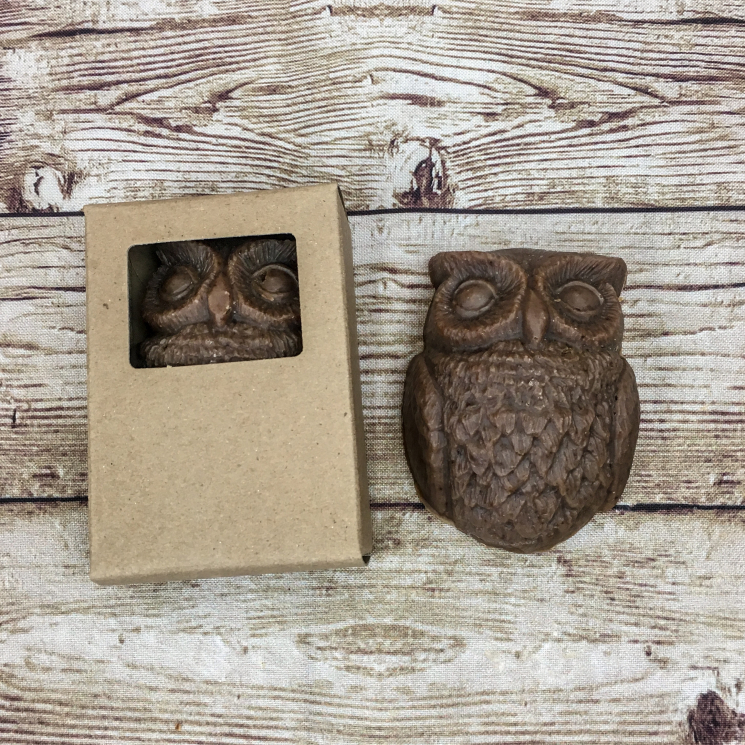 Lavender Vanilla Goat Milk Soap in Shape of Owl, Boxed and Unboxed
