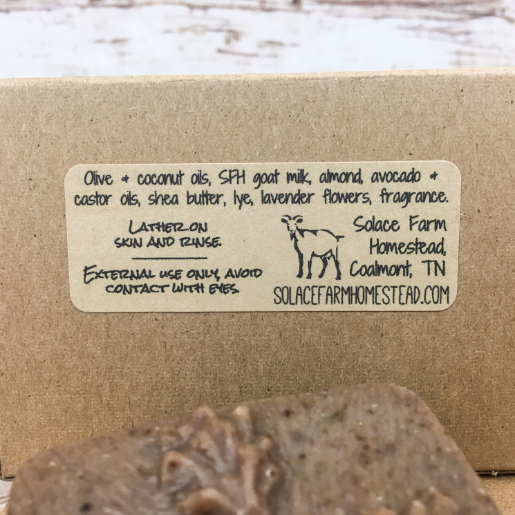 Back of Box of Goat Milk Soap Showing Ingredients Label