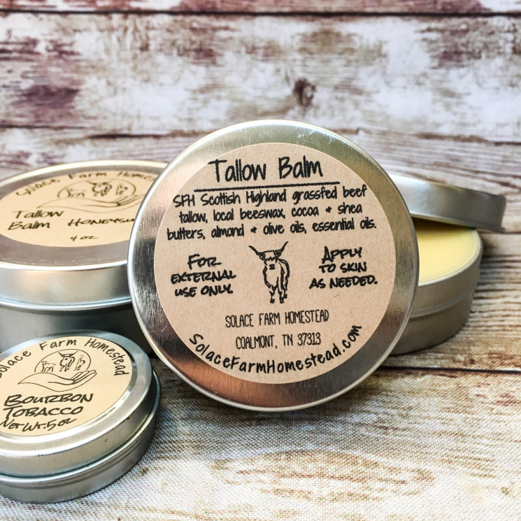 ingredients of Tallow Balm with Scottish Highland beef tallow