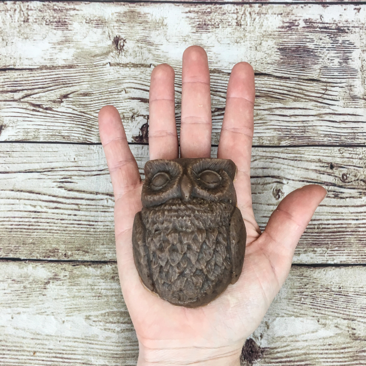 Owl-Shaped Goat Milk Soap in Woman's Hand