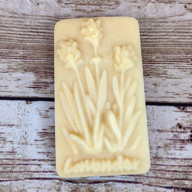Bar of Lavender Goat Milk Lard Soap, Molded with a Lavender Plant