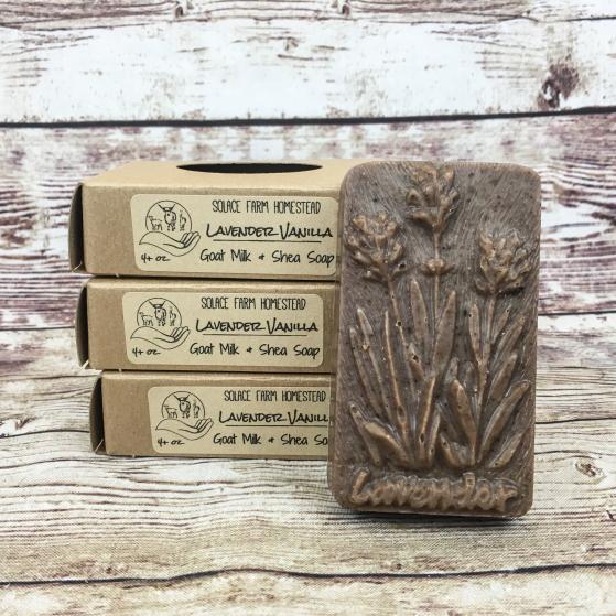 Rectangular Bar of Handmade Goat Milk Soap in Shape of Lavender Plant