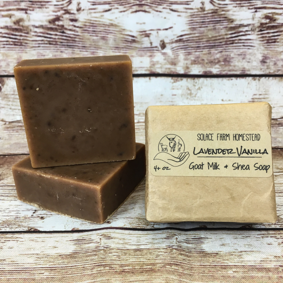 Square Bar of Lavender Vanilla Goat Milk Soap