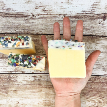 Lemon Birthday Cake Soap, Handmade Old-Fashioned Lard Soap with Pure Lemon Essential Oil