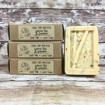 Goat Milk Lard Soap, White Tea & Ginger, Bamboo Molded Bar Soap with Farm Goat Milk and Pastured Lard