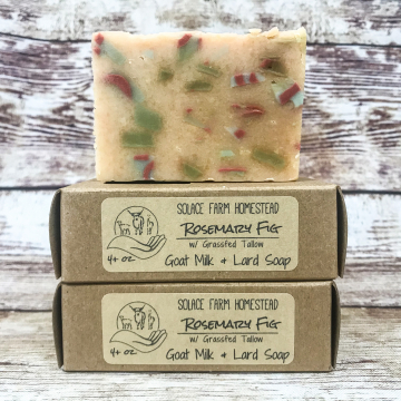 Confetti Soap with Grass-fed Tallow & Pastured Lard, Rosemary Fig Goat-Shaped Handmade Soap