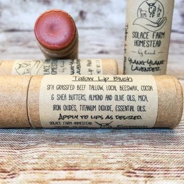 Tinted Lip Blush, Grass-fed Tallow Lip Balm, Beeswax Lip Balm with a Hint of Natural Color