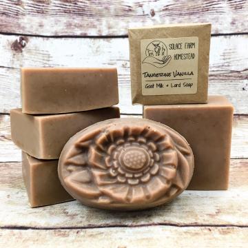 Goat Milk Lard Soap, Tangerine Vanilla Flower Molded Bar Soap with Farm Goat Milk and Pastured Lard