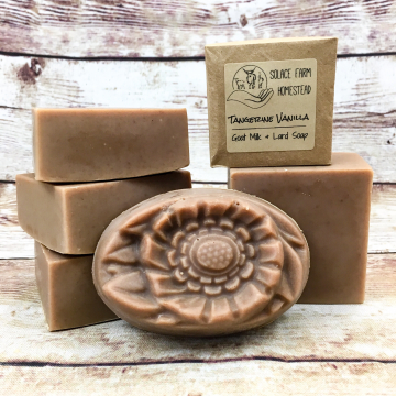 Goat Milk Lard Soap, Tangerine Vanilla Flower Molded Bar Soap with Farm Goat Milk and Pastured Lard