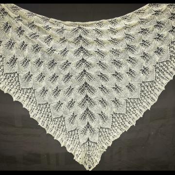 Cascading Leaf Lace Shawl, Hand-spun Tunis Sheep Wool, Hand-knit Lace Triangle Wrap