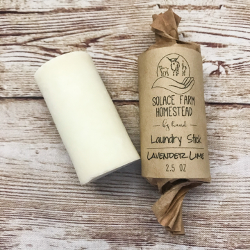 Laundry Stain Stick, Lavender Lime - 100% Coconut Oil Soap for Laundry and Spot Removal