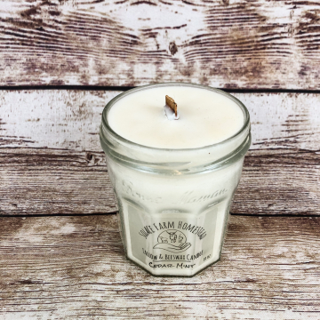 Tallow & Beeswax Candle 10 oz, Wooden Wick Candle with Hand-Rendered Grass-fed Beef Tallow in Upcycled Glass Jar