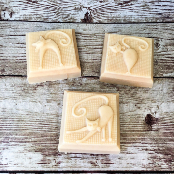 Goat Milk Lard Soap, Ylang Ylang Lavender Molded Bar Soap with Farm Goat Milk and Pastured Lard, Cat Lover Gift, Gift for Her