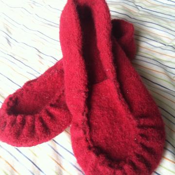 Felted Wool Slippers - Repurposed Sweater