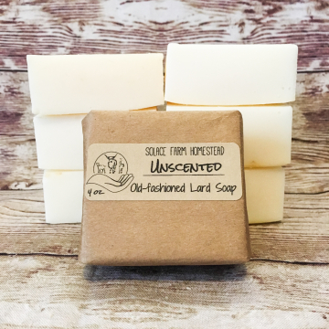 6-Pack Classic Lard Soap, Unscented - Affordable Old-Fashioned Lard Soap for Everyday