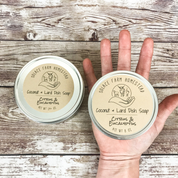 Dish Soap, Tin Container Sustainable Packaging Handmade Kitchen Soap with Coconut Oil and Pastured Lard, Citrus & Eucalyptus