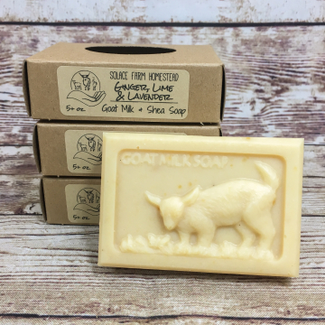 Handcrafted Goat Milk Soap - Ginger, Lime & Lavender Essential Oils, Handmade Goat Soap for Gifts