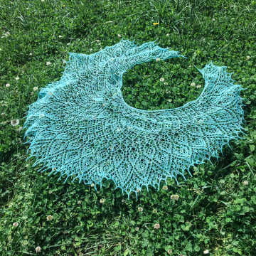 Hand-Knit Shawl, Robin's Egg Blue Lamb's Wool Hand-Dyed Crescent Wrap, Hand-Spun from Heirloom Tunis Sheep Wool