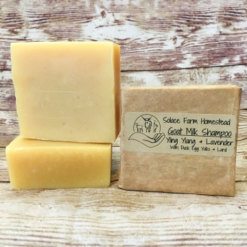 Goats Milk Shampoo, with Lard & Duck Egg Yolks - Moisturizing Goat Milk Soap Shampoo Bar, for Dry Skin or Sensitive Skin