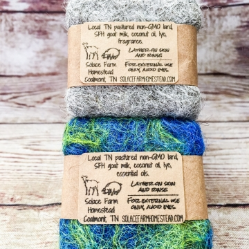 Alpaca Felted Soap, 2 oz - Hand-Dyed Felted Soap, Goat Milk & Vegan Soap, Natural Alpaca Wool Felted Scrubbie Soaps