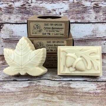 Goat Milk Soap with Grass-fed Tallow & Pastured Lard, Cedar Bergamot Essential Oils, Handmade Acorn and Leaf Soaps