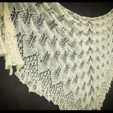 Cascading Leaf Lace Shawl, Hand-spun Tunis Sheep Wool, Hand-knit Lace Triangle Wrap