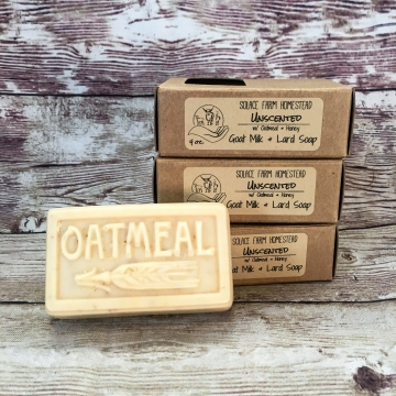 Unscented Goat Milk Farm Soap with Pastured Lard, Real Honey, and Oats - Fragrance-Free Oatmeal Milk & Honey Handmade Goat Milk Lard Soap