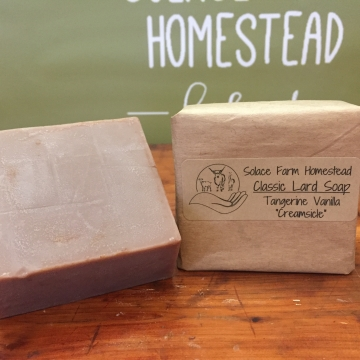Classic Lard Soap - Tangerine Vanilla Old-Fashioned Lard Soap, Old-Time Soap for Gifts or Everyday, Soap for Kids