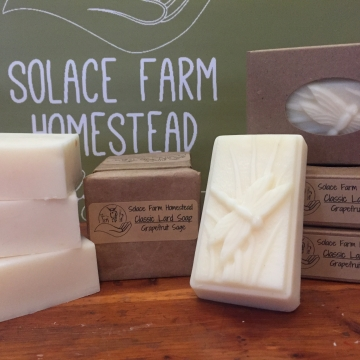 Classic Lard Soap, Grapefruit & Sage EO - Old-Fashioned Lard Soap, Grapefruit Essential Oil Soap for Everyday