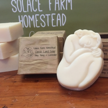 Classic Lard Soap, Yling Ylang & Lavender EO - Old-Fashioned Lard Soap, Lavender Essential Oil Soap for Everyday or Gifts