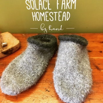 Felted Wool Slippers - Alpaca, Custom-made