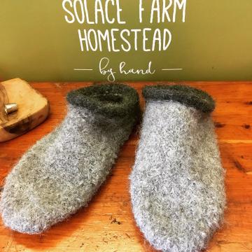 Felted Wool Slippers - Alpaca, Custom-made