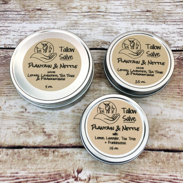 Herbal Grass-fed Tallow Salve, Infused with Nettle & Plantain, with Essential Oils