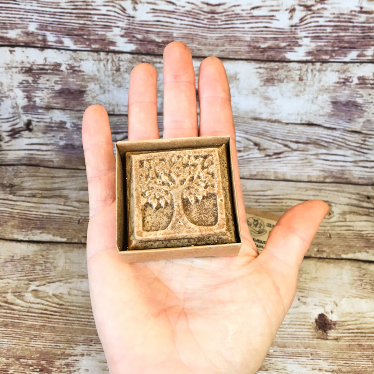 2 oz Tree of Life Soap in Palm of Hand
