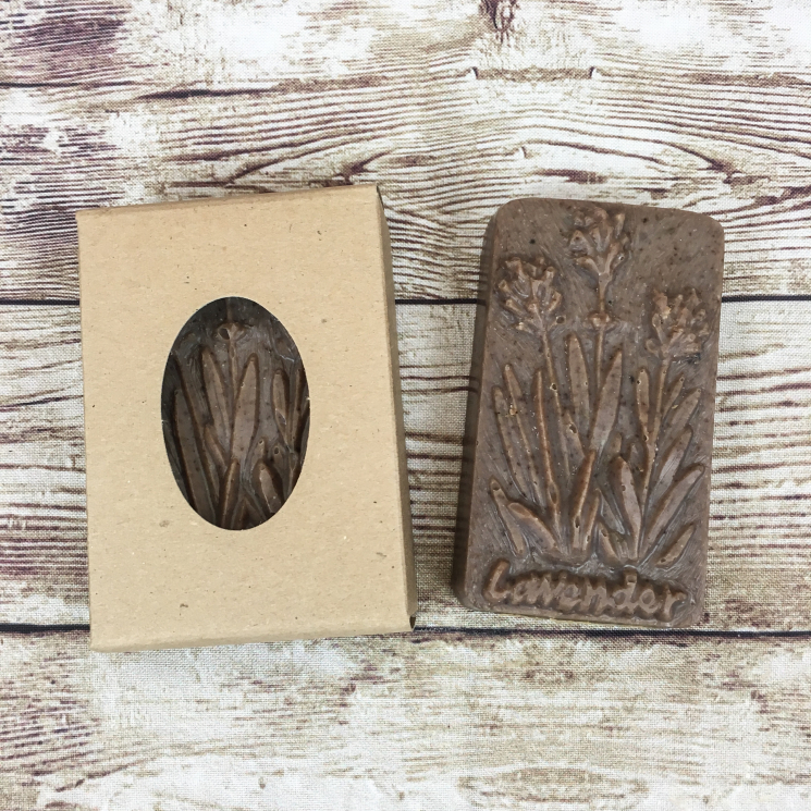 Bar of Lavender Vanilla Soap, Boxed and Unboxed